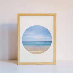 Ocean Inside a Circle - Printable Art #instantdownload #print #digitalfile #printableart #walldecor #artandcollectibles #ikeasize #bedroom #lightblue #beige #kitchen #sea #circle