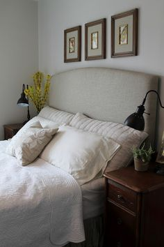 Sixty-Fifth Avenue: DIY Upholstered Headboard. Love the shape, and the colors in their bedroom.