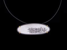 "Christy Klug: Pendant, 22k Gold, Enamel, Oxidized Sterling Silver, 16"" Coil, 2-3/4"" x 1"""