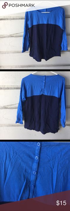 Patagonia Colorblock Top A simple three quarter sleeve Patagonia top with an adorable button detail down the back. Navy and light blue in color. 55% organic cotton, very soft! EUC. Patagonia Tops Tees - Long Sleeve