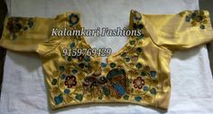 pen kalamkari cut work blouses customised order