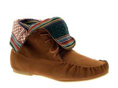 WOMENS NAVAJO INDIAN AZTEC MOCCASIN ANKLE BOOTS FAUX SUEDE LADIES SHOES SIZE 3-8