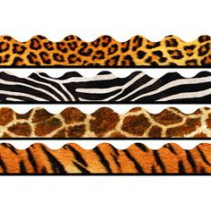 Enjoy the convenience and value of our most popular trimmers in themed variety packs. Mix and match them for dynamic displays! Set includes Leopard, Zebra, Giraffe, and Tiger. 156 total feet.