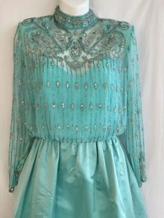 Vintage-Lillie-Rubin-Victoria-Royal-Couture-Beaded-Blue-Evening-Gown-Dress-sz-6