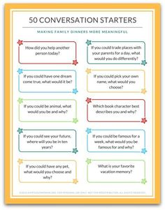 These 50 Family Dinner Conversation Cards will help you connect with your family around the table. No more wondering what to talk about! You'll receive 5 pages of fun family dinner conversation cards to use during meal time - or any time! Conversation Starters For Kids, Conversation Topics, Conversation Starter Questions, Family Meeting, Family Night, Communication Orale, Communication Skills, Dinner Games, Printing Labels