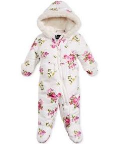 54f928bcab90 Rothschild Hooded Floral-Print Footed Pram Snowsuit with Faux-Fur Trim