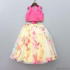 Sleeveless Hot Pink Top With Aqua Blue Ghagra Kids Party Wear Dresses, Kids Dress Wear, Baby Girl Party Dresses, Kids Gown, Birthday Girl Dress, Dresses Kids Girl, Kids Wear, Daughter Birthday, Girls Frock Design