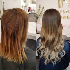 """From bronze to a soft color melt 😍✨ Color and extensions by Shabnam @rapunzeluppsala:  Quick & Easy European 50 cm/20""""  Brown Ash Ombre #T3/14 (6 packets)  Styled using the Mach 2 ceramic flat iron. Tap ⛓ in bio to unlock our tape offer! #rapunzelofsweden"""