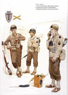 U.S.Army ITALY 1943-44 - 1 1st Leutnant, Field Artillery, 36th Inf. Division - 2 Technician 4th grade, 100th Battalion - 3 S/Sgt, Field Artillery, 36th Inf. Division