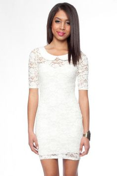 Abby Lace Dress with Peter Pan Collar in Ivory $32 at www.tobi.com