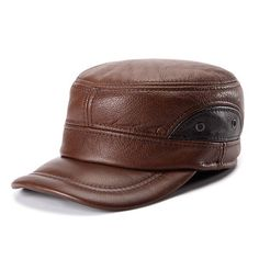 Cowhide Genuine Leather Baseball Cap Earflap Earmuffs Fleece Linen Adjustable Military Hat