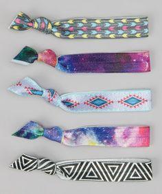 Another great find on #zulily! Blue Diamond & Pink Tie-Dye Hair Tie Set #zulilyfinds