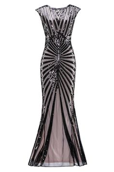 Sequin Art Deco Maxi Dress – Retro Stage - Chic Vintage Dresses and Accessories Glamorous Evening Gowns, Sequin Evening Dresses, Sequin Bridesmaid Dresses, Glamorous Dresses, Beautiful Dresses, Beautiful Clothes, Sequin Maxi, Prom Gowns, Pretty Dresses