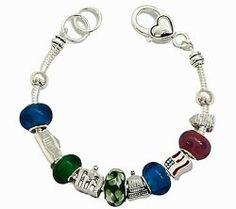 Silvertone USA Theme Charm Bracelet Fashion Jewelry $22.99 Pammyjfashion.com