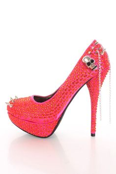6084c46b63db Coral Fabric Faceted Beaded Spike Studded Platform Heels   Amiclubwear Heel  Shoes online store sales