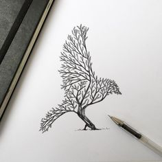 Alfred Basha illustration – Bird Tree Sketch Very simple illustration which is a tree but  ...
