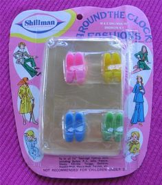 VINTAGE SHILLMAN BARBIE CLONE FOR CLOTHES PINK YELLOW GREEN  PILGRIM SHOES LOT!