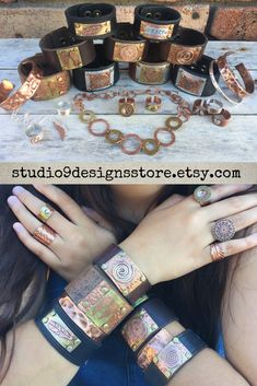 Studio 9 Designs by Leather Bracelets, Leather Cuffs, Leather Jewelry, Cuff Bracelets, Copper Jewelry, Unique Jewelry, Handmade Market, Rock Chic, Bohemian Jewelry