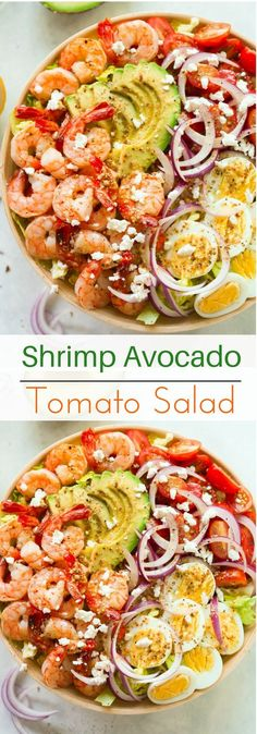 Shrimp Avocado Tomato Salad - Looking for a high-protein salad? How about this delicious Shrimp Avocado Tomato Salad recipe?! It's fresh, healthy, easy and quick to make!