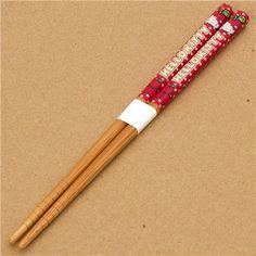 kawaii Hello Kitty Chopsticks with apples & dots  cute wooden chopsticks with Hello Kitty, red apples and many dots