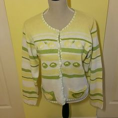 Melissa Brooks lime/lemon cardi Lemons and limes cardigan.  Yellows, lime greens and white are the colors.  Buttons are covered as well in the sweater material.  One pocket says lime, the other lemon.  Back of cardi is all white.  EUC.  No rips or stains.  55% ramie, 45% cotton.  So cute.  Size medium. Melissa Brooks Sweaters Cardigans