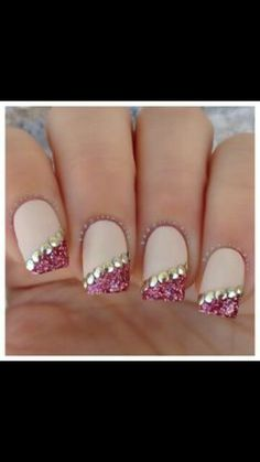 Crystal sparkly french manacure