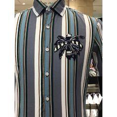 질바이질스튜어트셔츠 세로 스트라이프 야자수 포인트 슬림핏 반소매 셔츠 JBCA1CSL303-N1 - 더현대닷컴