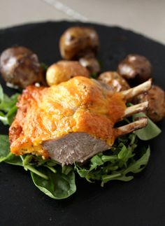 Recipe: Cheddar Crusted Lamb Rack with Roasted Potatoes and Jerusalem Artichokes
