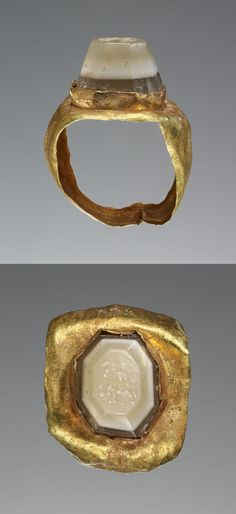 Engraved Gem Inset Into a Ring, Roman, 2nd - 3rd century, Gem: banded agate, green/white/dark green; ring: gold-foil, 1.1 x 0.9 x 0.7 cm (7/16 x 3/8 x 1/4 in.). Love the shape of this