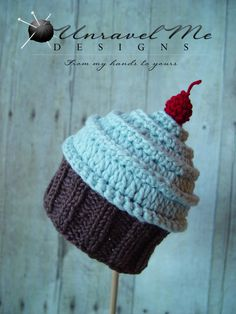 PDF Crochet Pattern and Crochet/Knit pattern - Baby Cakes Cupcake Hat - Two versions in one. $4.99, via Etsy.
