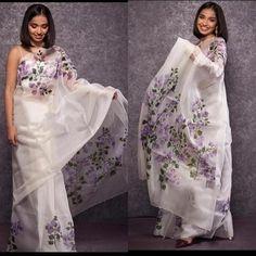 Floral Print Sarees, Printed Sarees, Saree Painting, Fabric Painting, Farewell Dresses, Latest Silk Sarees, Hand Painted Sarees, Digital Print, Stylish Sarees