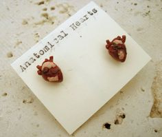 Miniature ANATOMICAL HEART earrings...happy early valentine's day <3