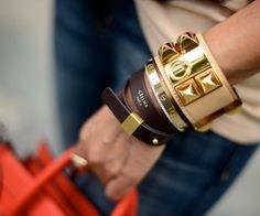 Celine Pontet Black Double Leather Wrap Bracelet in Size M ~ Selling at SGD5xx