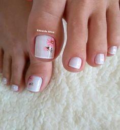 27 Modelos de Unhas com esmalte Branco Uñas Decoradas ? Pretty Toe Nails, Cute Toe Nails, Pretty Nail Art, Pretty Toes, My Nails, Toe Nail Color, Toe Nail Art, Nail Nail, Bridal Nail Art