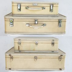 VINTAGE Cream SUITCASE Set with Red Aqua and Black Stripes Luggage ...