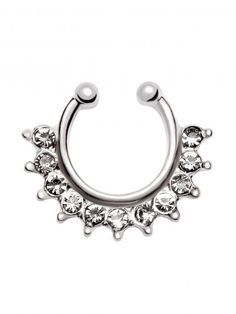 Silver Rhinestone Ball Nose Ring