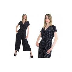 Vtg Vintage 80s Black and white polkadot print jumpsuit romper modern... via Polyvore