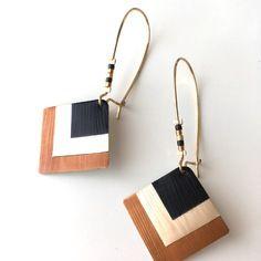 Dormeuses carrées noires dorées et marrons avec capsule nespresso et perles miyuki