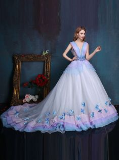 246.19 Dresswe.com SUPPLIES V-Neck Ball Gown Beading Embroidery Court  Train Quinceanera Dress d5ac2251460c