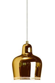 Maße: Höhe 22 cm, Durchmesser 18 cm, Kabellänge 200 cm / 384,- A 330S (Golden Bell) pendant lamp - by Alvar Aalto - Artek
