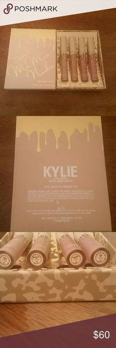 Kylie Cosmetics Send Me More Nudes Trade!! Kylie Cosmetics Send Me More Nudes Matte Liquid Lipsticks. Comes with 4 lipsticks. Has been swatched but NEVER worn. Will come with kylie packaging (black box and kylie card). 100% authentic! Kylie Cosmetics Makeup Lipstick