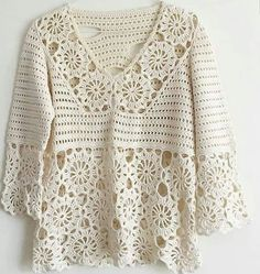 <img> White motif crochet blouse for you to share and be inspired by all crochet hooks. T-shirt Au Crochet, Cardigan Au Crochet, Pull Crochet, Mode Crochet, Crochet Shirt, Crochet Jacket, Crochet Woman, Crochet Hooks, Crochet Stitches Patterns