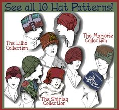 LOTS of Hat patterns circa 1920s!  Each collection just $3.99 each!   Download e-booklets at eVINTAGEpatterns on etsy
