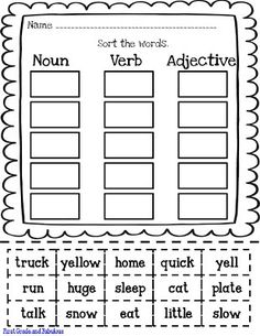 nouns verbs and adjectives worksheets