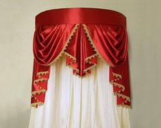 Red crown canopy will look gorgeous in any occasion. The price includes: frame, red valance and sheer voile curtains. Bed Crown Canopy, Canopy Frame, Voile Curtains, Valance, Cornice, Window Curtains, Crown Wall Decor, Types Of Curtains, Curtain Designs