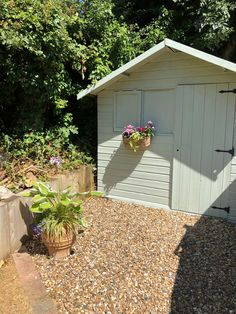 Cuprinol ..fresh Rosemary Garden Front Of House, House Front, Shed Paint Colours, Small Back Gardens, Painted Shed, Mediterranean Garden, Garden Painting, Garden Projects