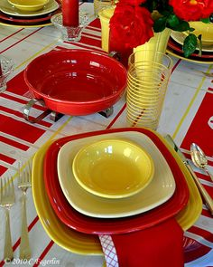 The Little Round Table | Square Fiesta® placesetting on a round table & Fiesta Square Dinnerware Collection in paprika marigold and ...