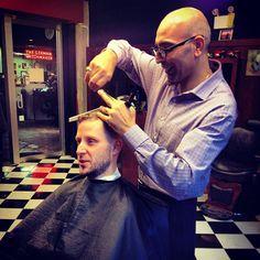 Lukas getting a fresh #fade from Farzad... :) #Vancouver #neighbourhood #barber #barbershop - @barberboss- #webstagram