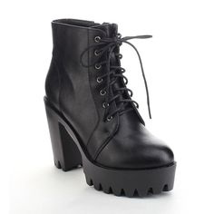 Refresh FABIA-02 Women's Lace Up Side Zip Lug Sole Platform Chunky Ankle Boots ** To view further for this item, visit the image link. (Amazon affiliate link)