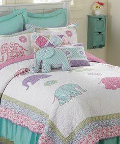 My quilt inspiration! Look at this #zulilyfind! Elephantastic Embroidered Quilt Set by Britannica Home Fashions #zulilyfinds